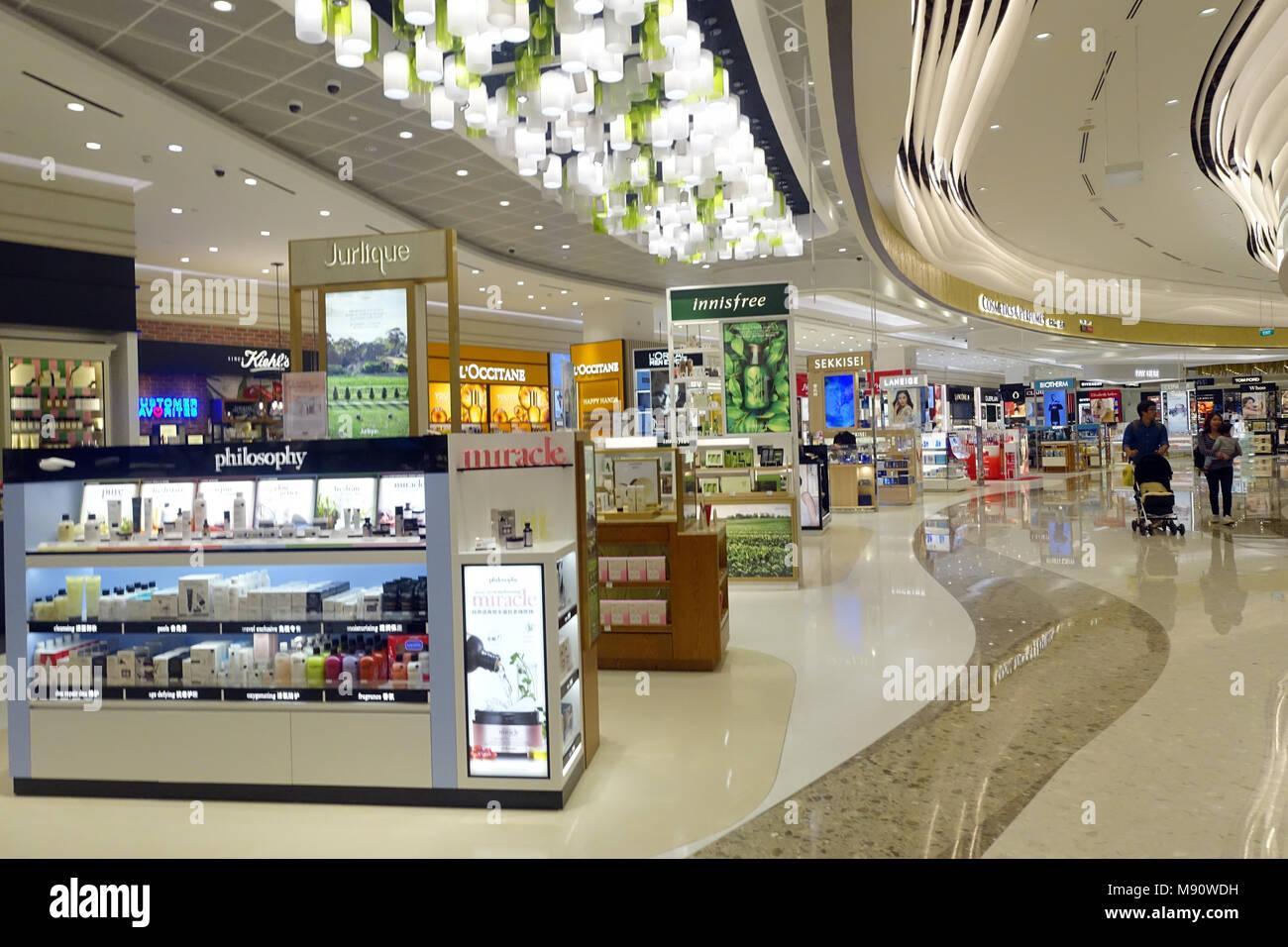 Changi airport.  Duty free shop. Cosmetics.  Singapore. - Stock Image