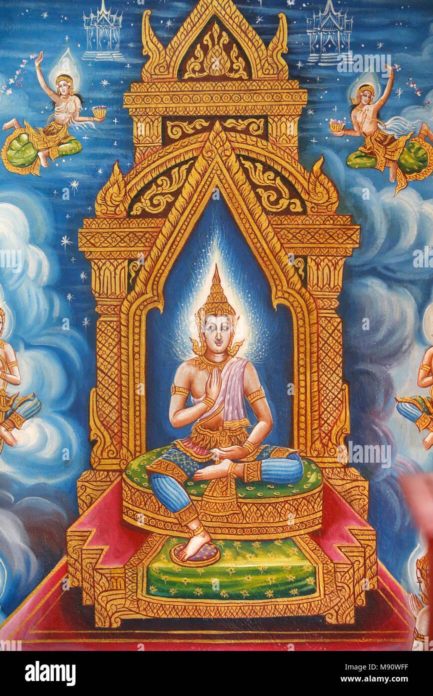Buddhist fresco in Wat Chiang Mun, Chiang Mai. Thailand - Stock Image