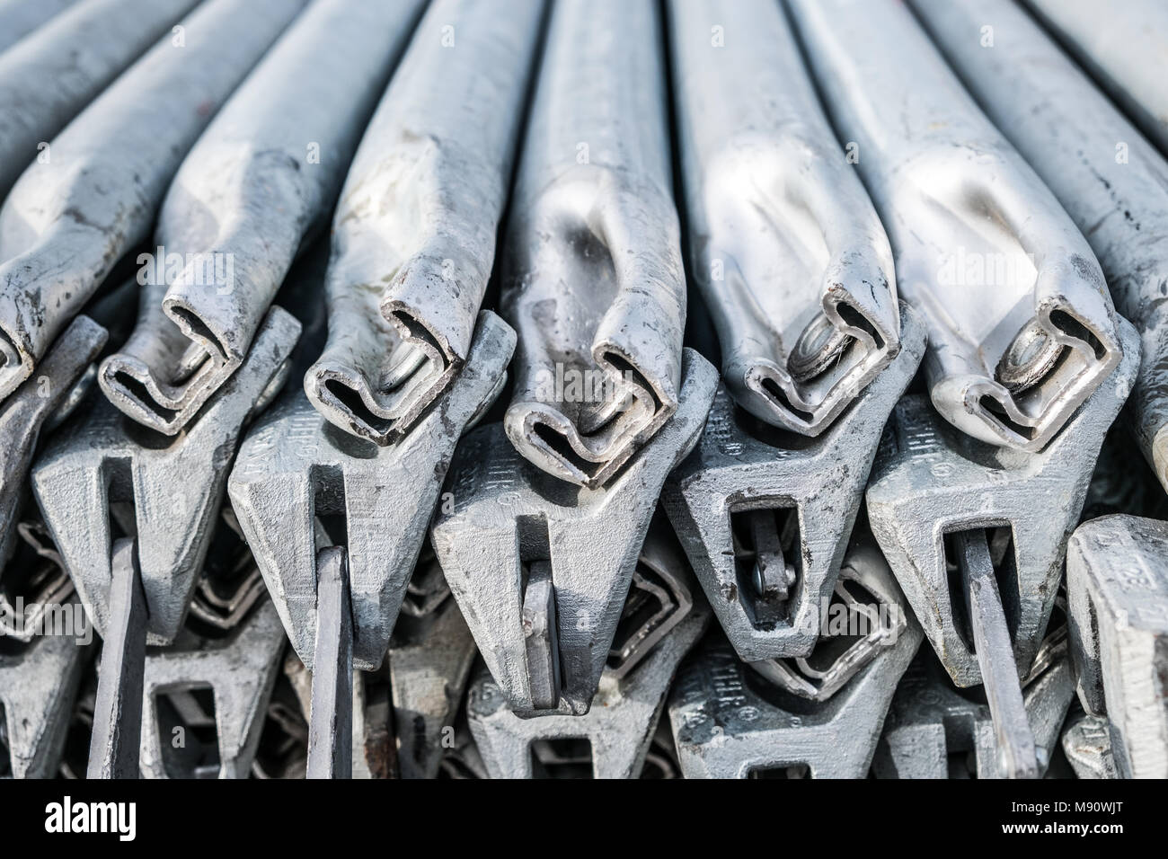 scaffolding steel poles closeup  - building construction industry concept - - Stock Image