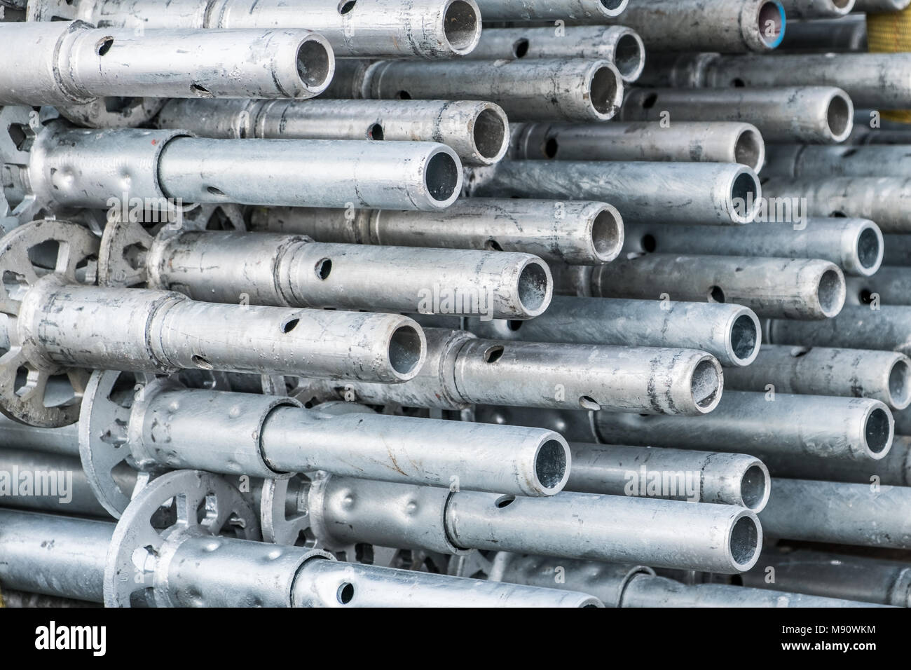 construction industry concept background - scaffolding parts closeup - - Stock Image