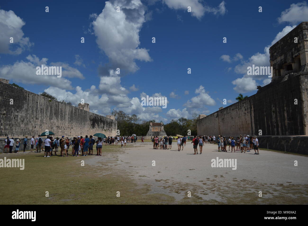 The great ball court at Chichen Itza, Mexico - Stock Image