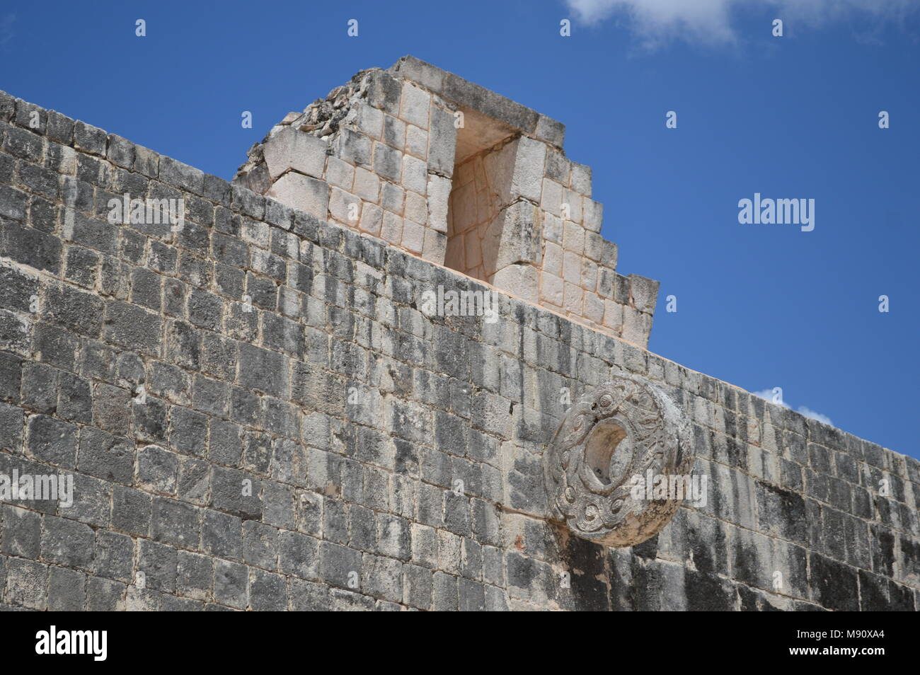One of the rings at the great ball court in Chichen Itza, Mexico - Stock Image
