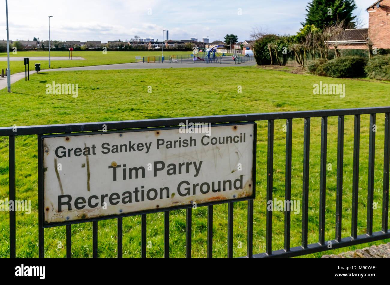 Tim Parry memorial Recreation Ground Great Sankey. - Stock Image