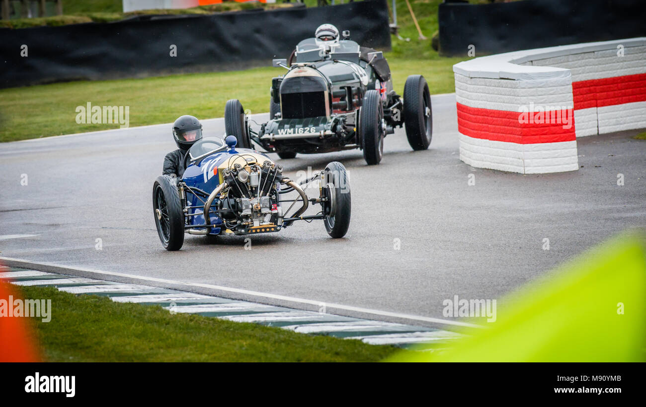 Sue Darbyshire in the 1928 Morgan Super Aero at the Goodwood Members Meeting 76MM in the Bolster Cup - Stock Image