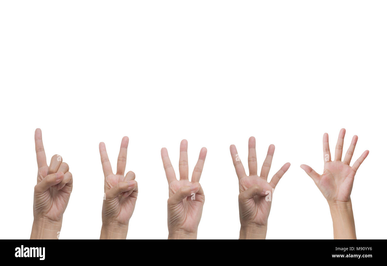 Set of hand gesture and sign collection isolated on white background. Multiple hand gestures. - Stock Image