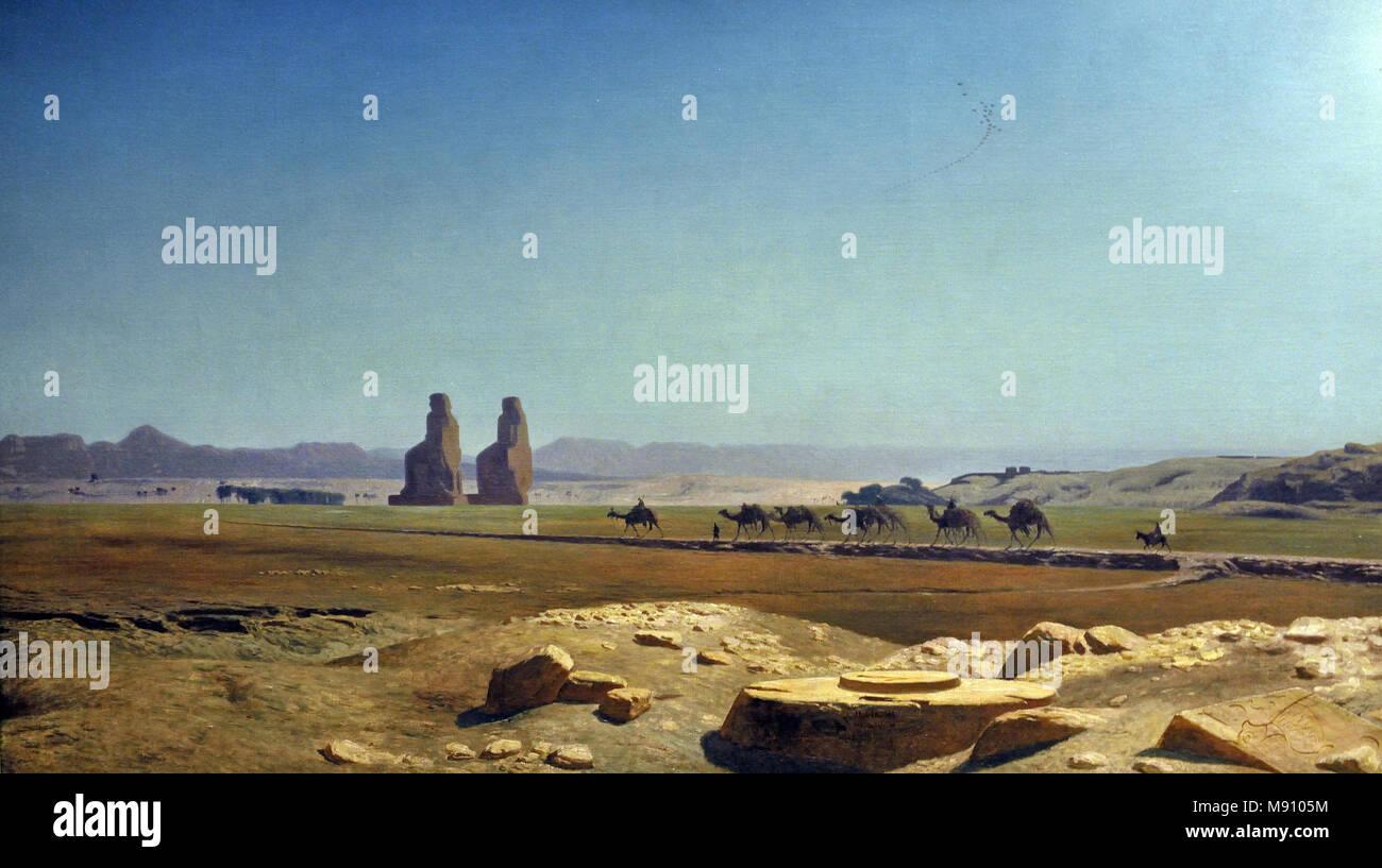 Jean-Léon Gérôme 1824-1904 CARAVAN PASSING THE COLOSSI OF MEMNON, THEBES, 1856  France, French, ( Vue de la plaine de Thèbes (Haute-Egypte) - View of the plain of Thebes (Upper Egypt) 1857) - Stock Image