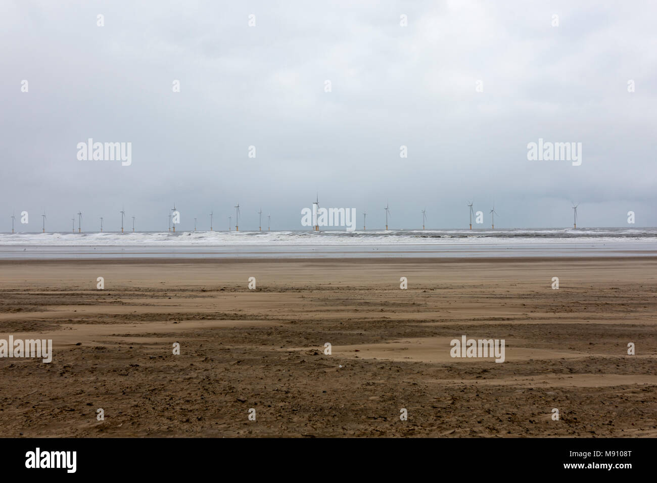 Teeside Wind Farm seen from Redcar , North Yorkshire - Stock Image