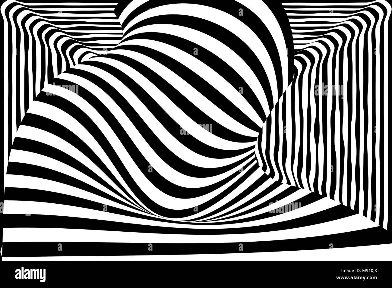 Black white 3d line distortion illusion - Stock Image