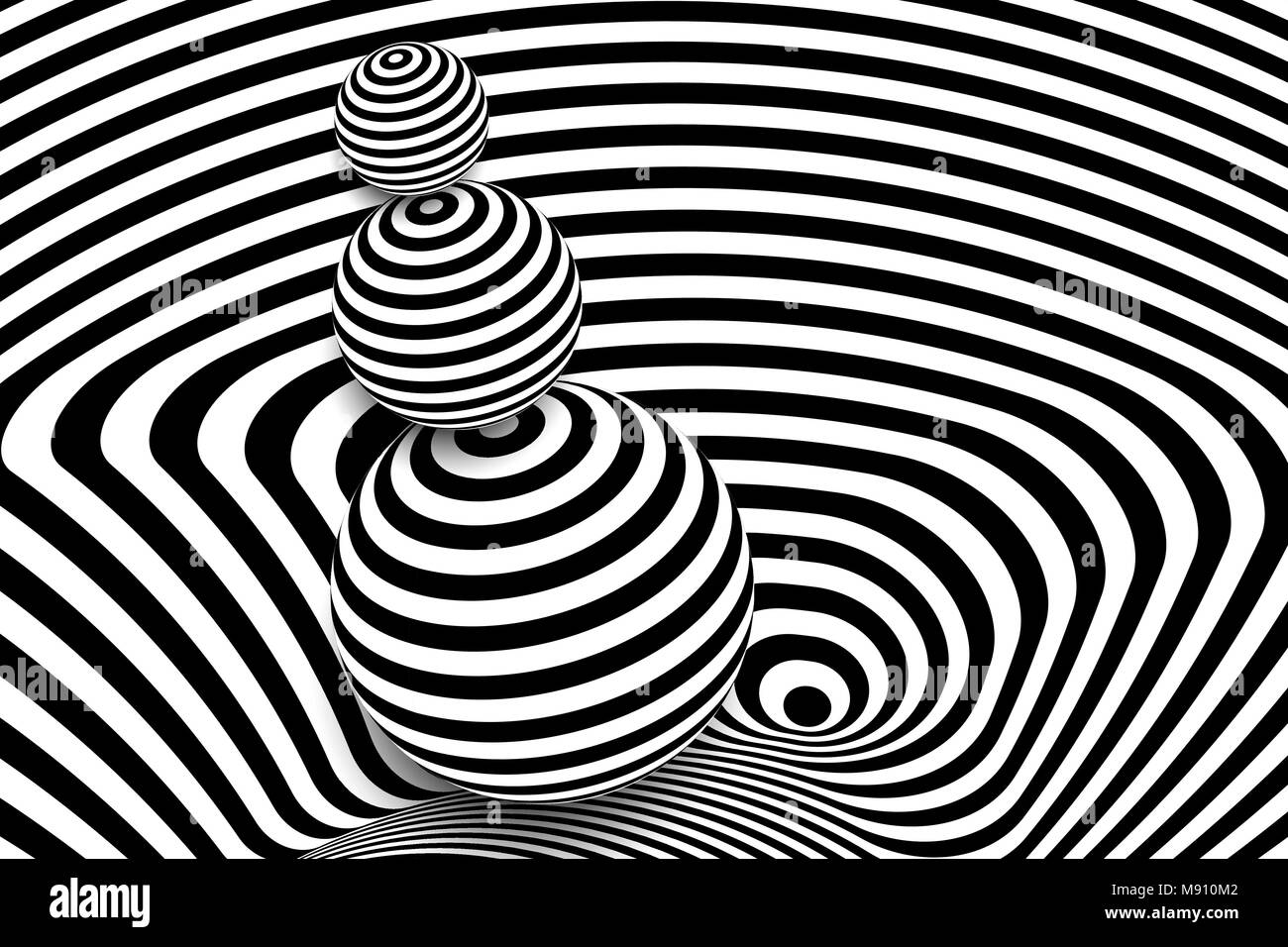Black white 3d line distortion ball illusion