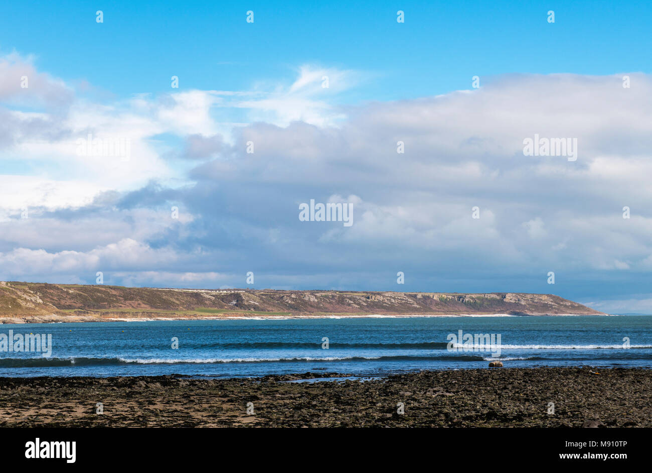 Across Port Eynon Bay to Oxwich Point Gower South Wales - Stock Image