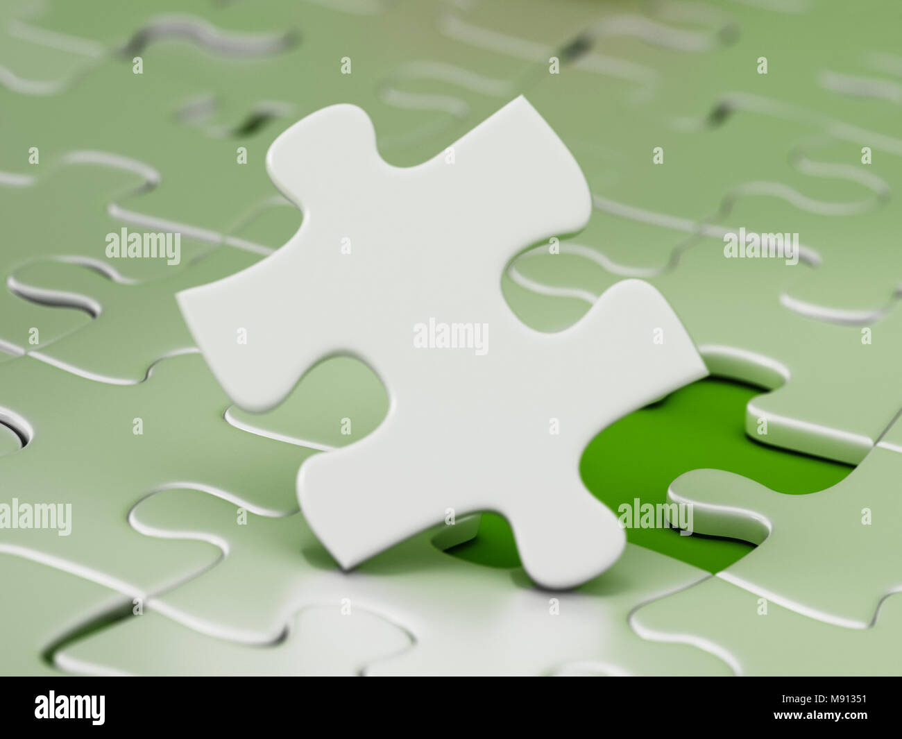 Jigsaw puzzle piece standing next to the missing part hole. 3D illustration. - Stock Image
