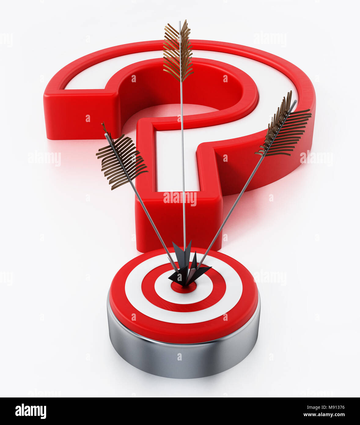 Arrows hit on target forming a question mark. 3D illustration. - Stock Image