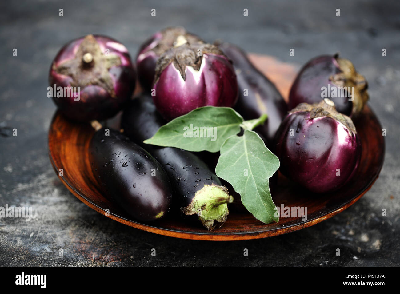 ripe purple eggplant - Stock Image