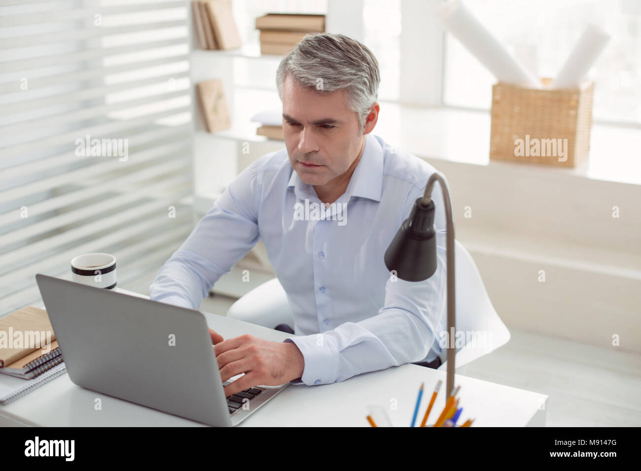 Serious handsome man working on the laptop - Stock Image