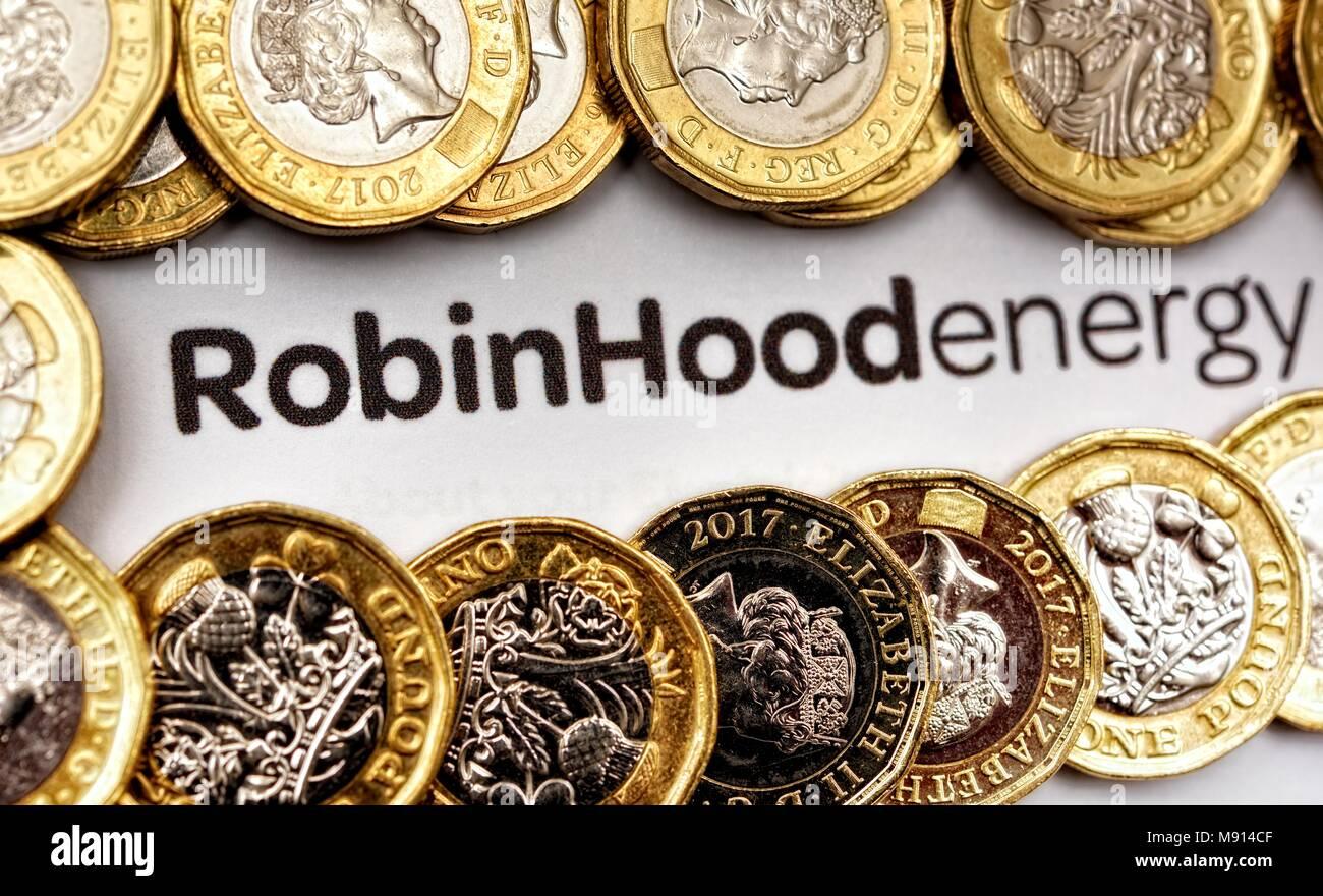 Robin hood energy supplier - Stock Image