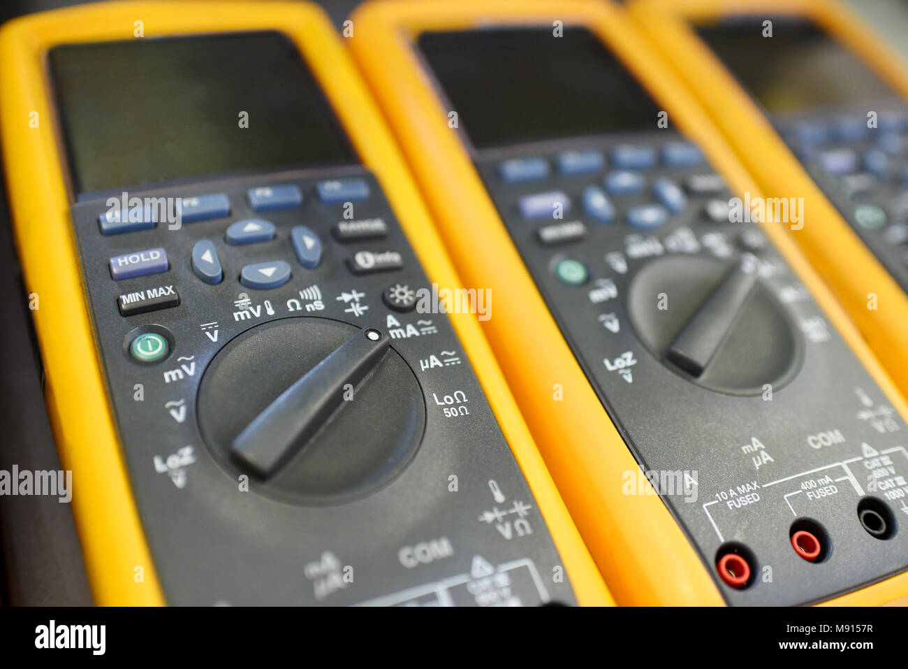 Close Up Digital Multimeter Stock Photos Electronic Multimeters View Of Yellow Or Multitester Image