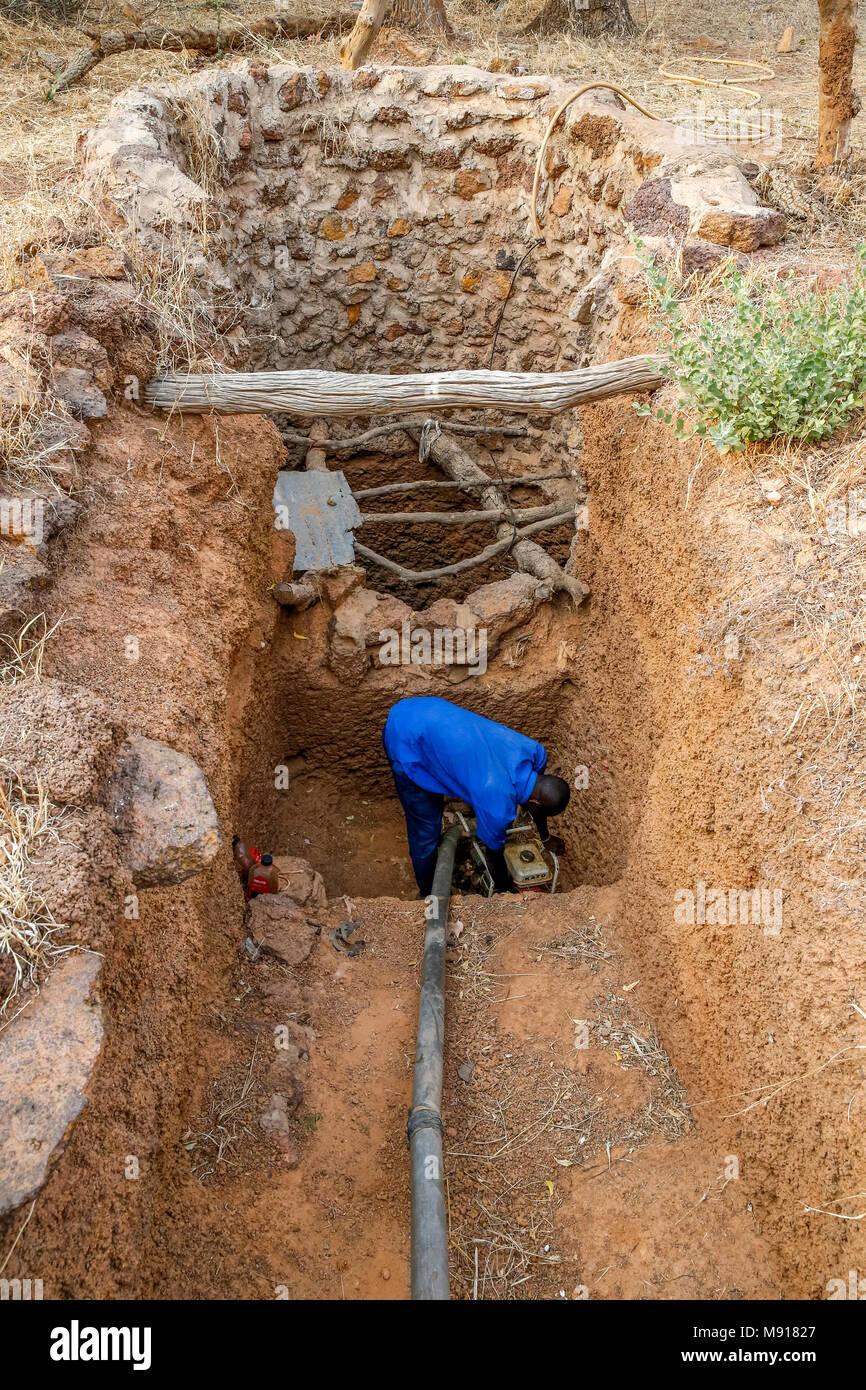 UBTEC NGO in a village near Ouahigouya, Burkina Faso. Watering hole. - Stock Image