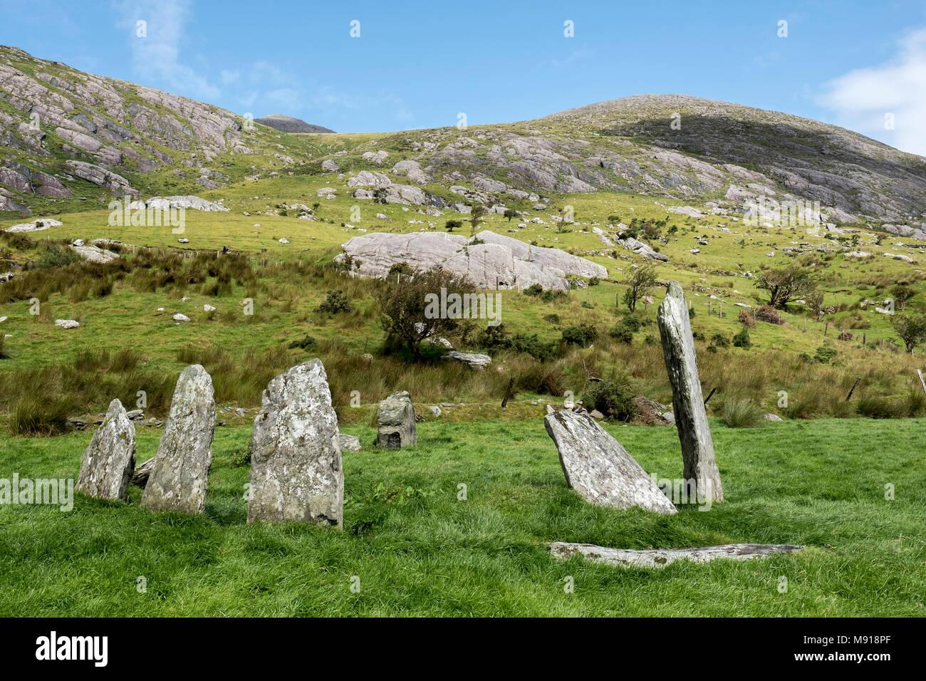 Ireland. Cashelkeelty Stone Circle. Beara Peninsula. - Stock Image