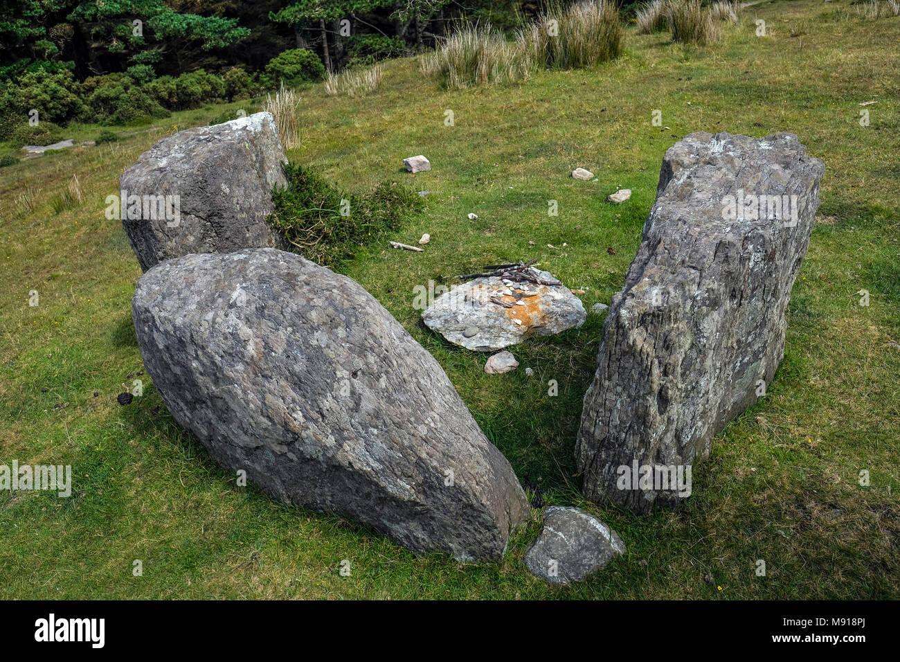 Ireland. Ardgroom Stone Circle. Beara Peninsula. Remnants of rituals of 'modern celts'. - Stock Image