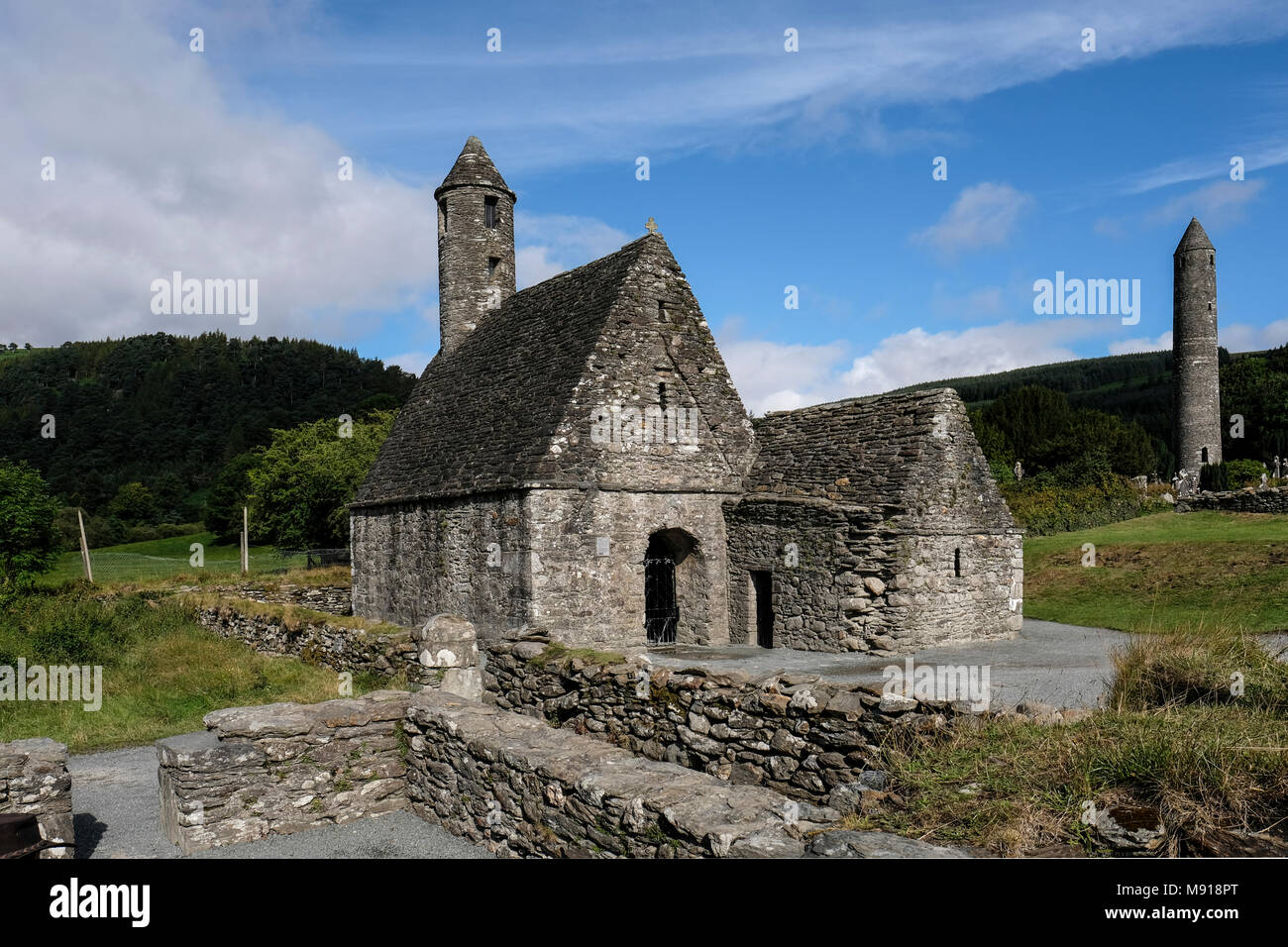 Ireland. St. Kevin's Church better known as St. Kevin's Kitchen is a nave-and-chancel church of the 12th century. - Stock Image