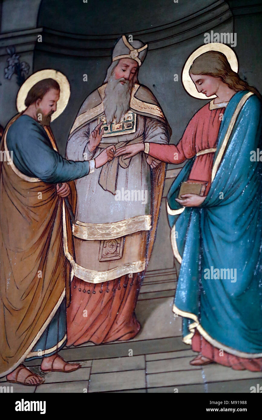 Saint-Pierre le Vieux Catholic Church. The marriage of the Virgin Mary and Saint Joseph.  Strasbourg. France. - Stock Image