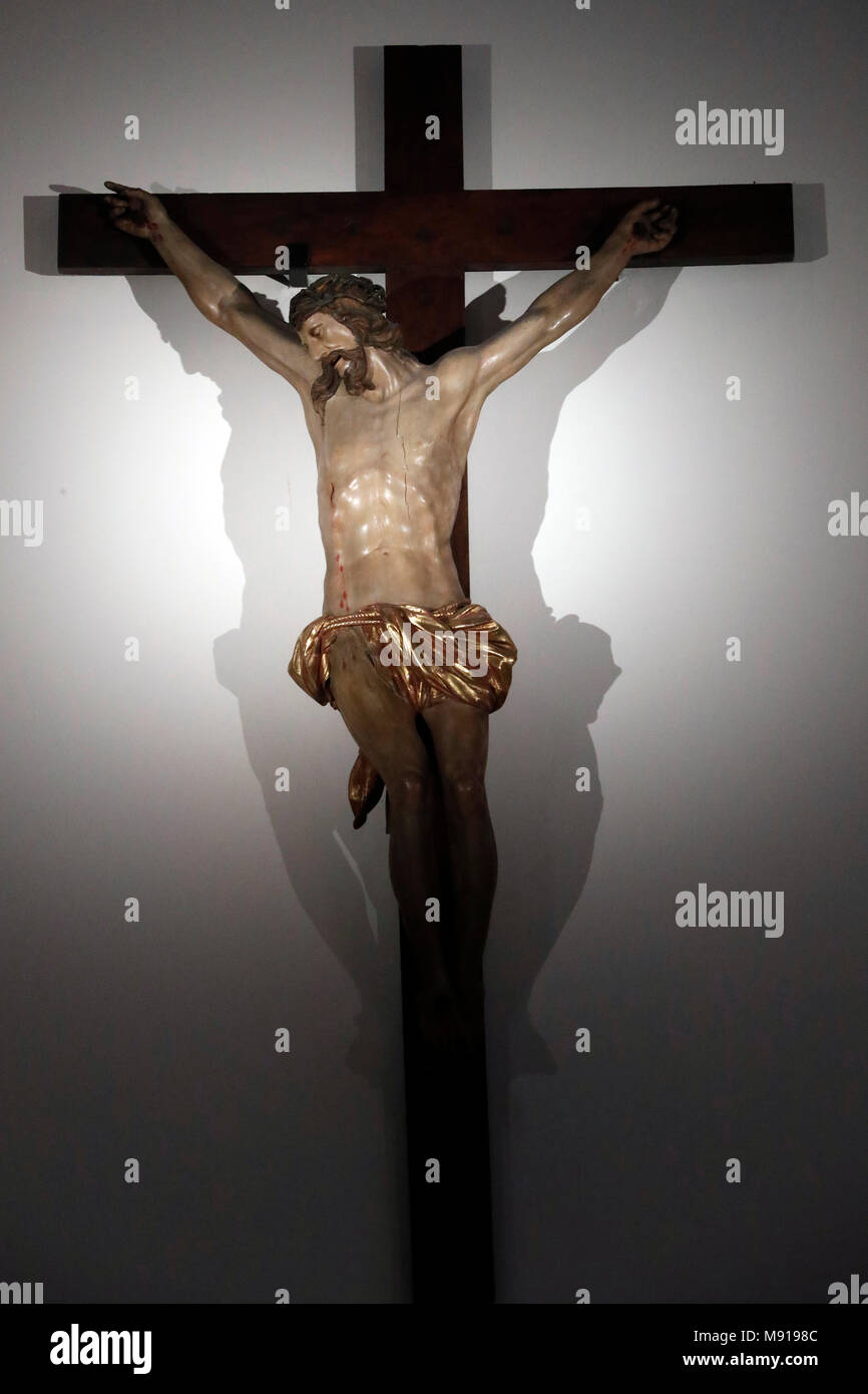 Saint-Pierre le Vieux Catholic Church. The crucifixion. JŽsus on the cross.  Strasbourg. France. - Stock Image