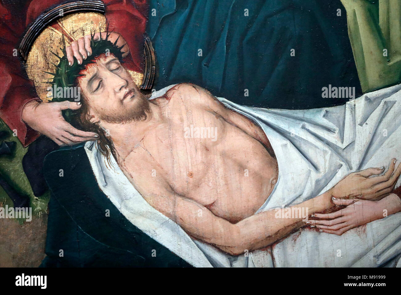 Saint-Pierre le Vieux Catholic Church.  Christ in his Passion.  Jesus is placed in the tomb. Painting by Henri Lutzelman 15 th century.  Strasbourg. F Stock Photo