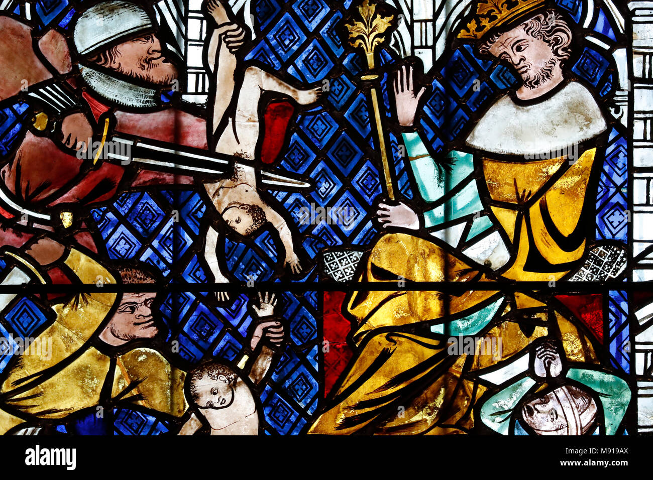 Our Lady of Strasbourg Cathedral. Stained glass window.  The Massacre of the Innocents. 14 th century.  Strasbourg. France. Stock Photo