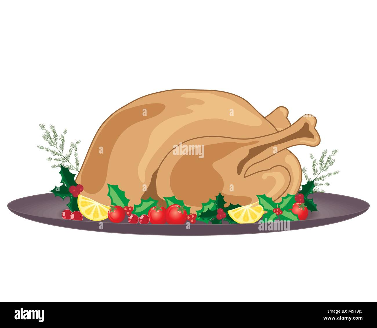a vector illustration in eps 10 format of a cooked and dressed Christmas turkey with holly decoration and gray plate on a white background Stock Vector