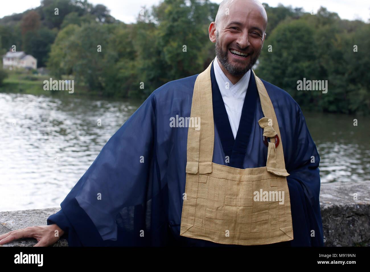Zen sesshin (retreat). Master. France. - Stock Image