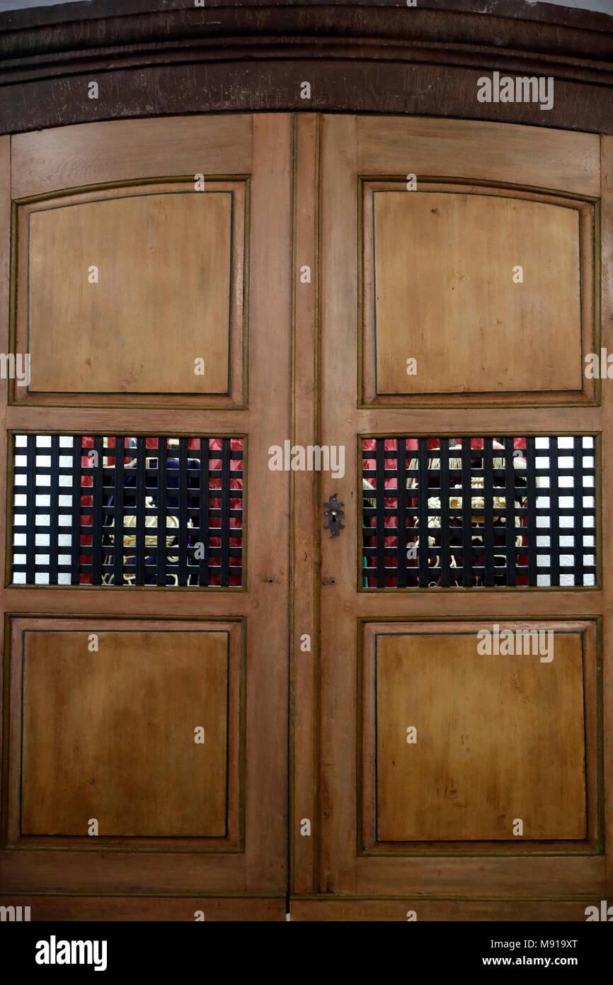 Ark Wood Elevator bartholdi museum. torah ark whith torah scrolls. colmar