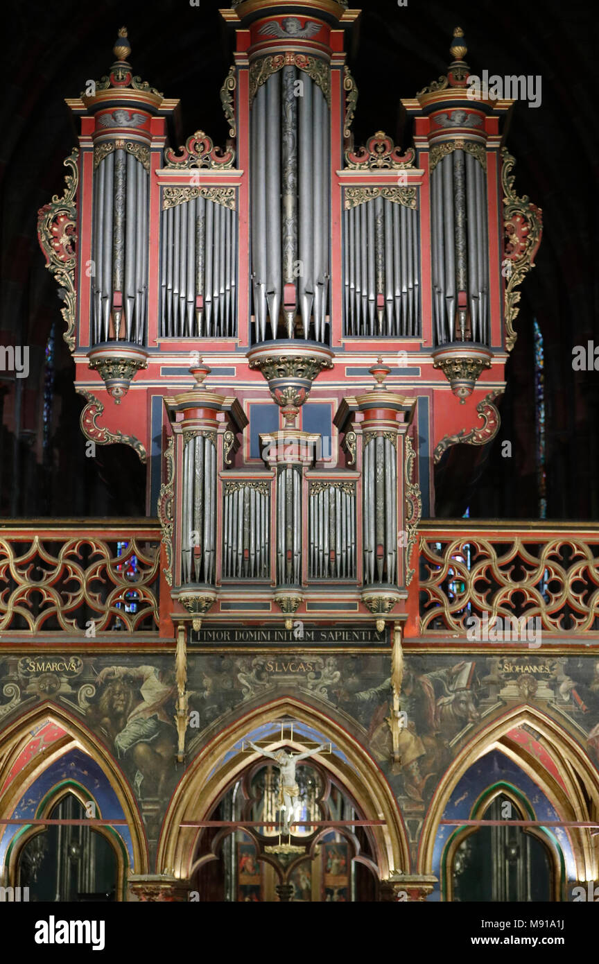 Saint-Pierre-le-Jeune Protestant Church.  The rood screen  and the pipe organ.  Strasbourg. France. - Stock Image