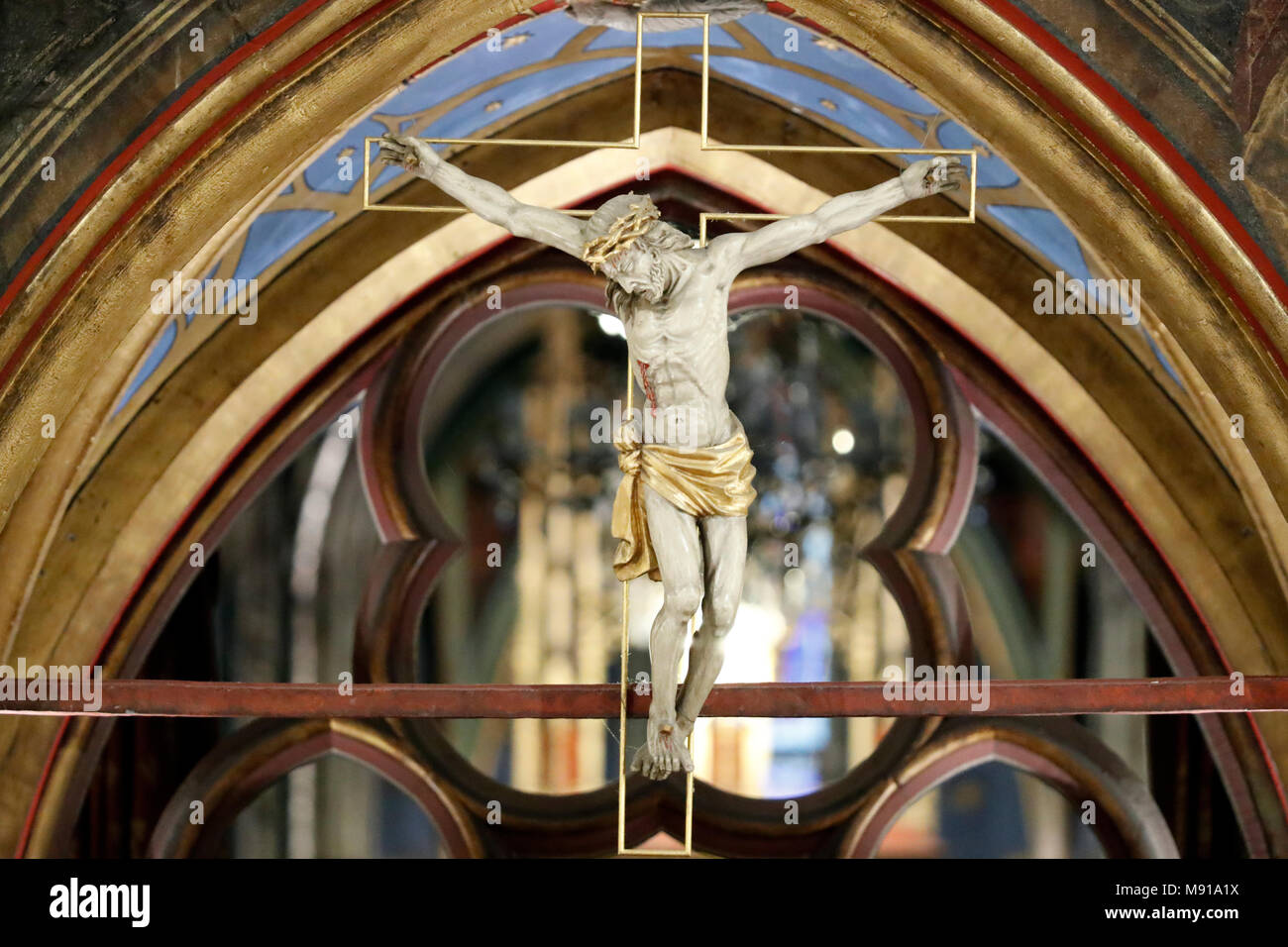 Saint-Pierre-le-Jeune Protestant Church.  The rood screen. Jesus on the cross.  Strasbourg. France. - Stock Image