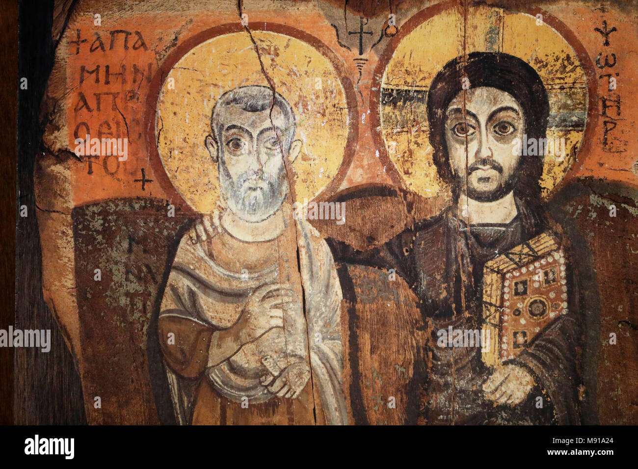 Saint-Pierre-le-Jeune Protestant Church. Jesus and Menas in a sixth-century icon from Bawit in Middle Egypt. Strasbourg. France. - Stock Image