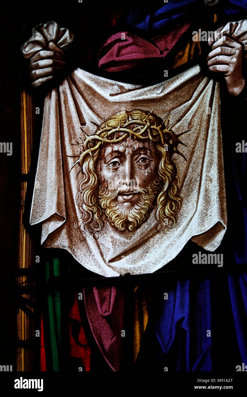 Saint-Pierre-le-Jeune Protestant Church.   The Veil of Veronica.  Stained glass window.  Strasbourg. France. - Stock Image