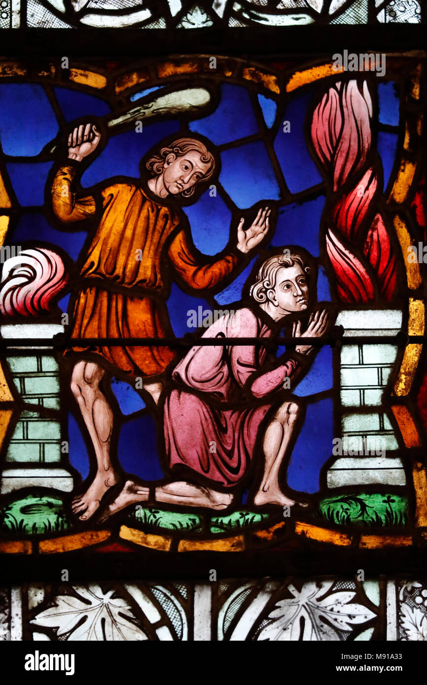Saint-Pierre-le-Jeune Protestant Church. Cain slaying Abel.  Stained glass window.  Strasbourg. France. - Stock Image