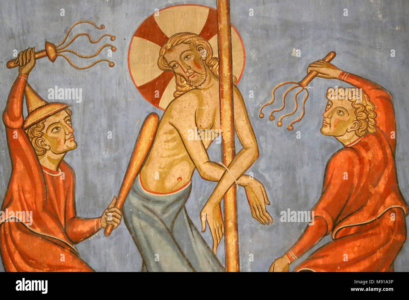 Saint-Pierre-le-Jeune Protestant Church.  Passion of Christ.  The Flagellation of Christ. Fresco.  Strasbourg. France. - Stock Image