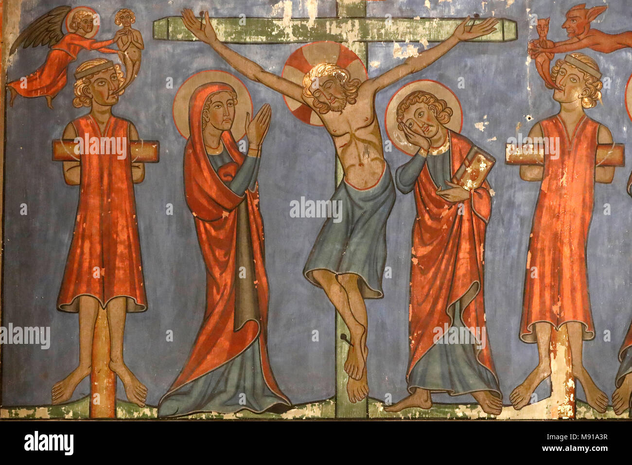 Saint-Pierre-le-Jeune Protestant Church.  The crucifixion. Jesus on the cross.  Fresco.  Strasbourg. France. - Stock Image