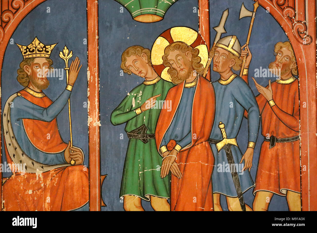 Saint-Pierre-le-Jeune Protestant Church.  Passion of Christ. Jesus is condemned by the Sanhedrin. Fresco.  Strasbourg. France. - Stock Image
