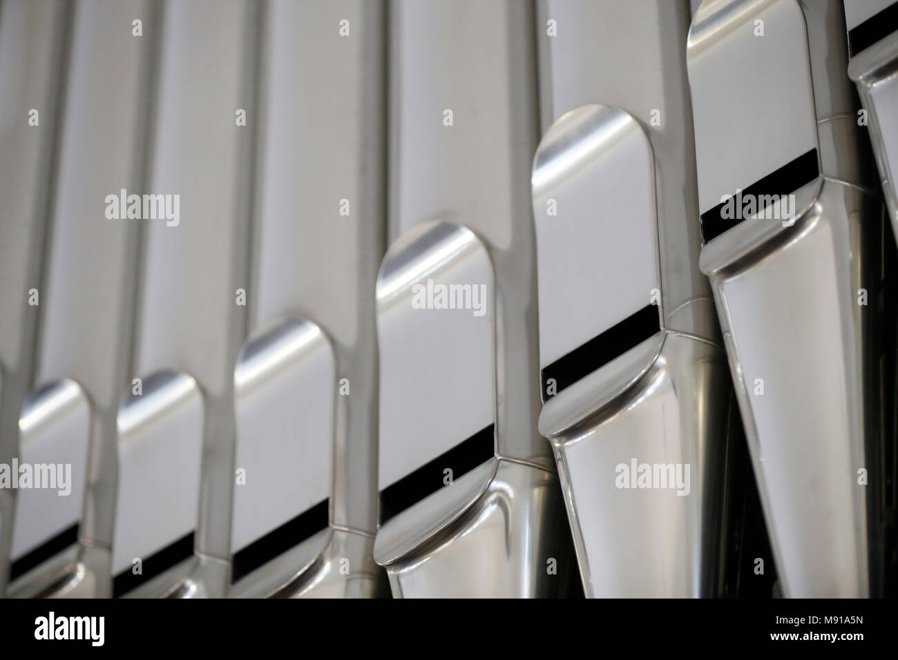 Bouclier protestant church.  The pipe organ. Detail.  Strasbourg. France. - Stock Image