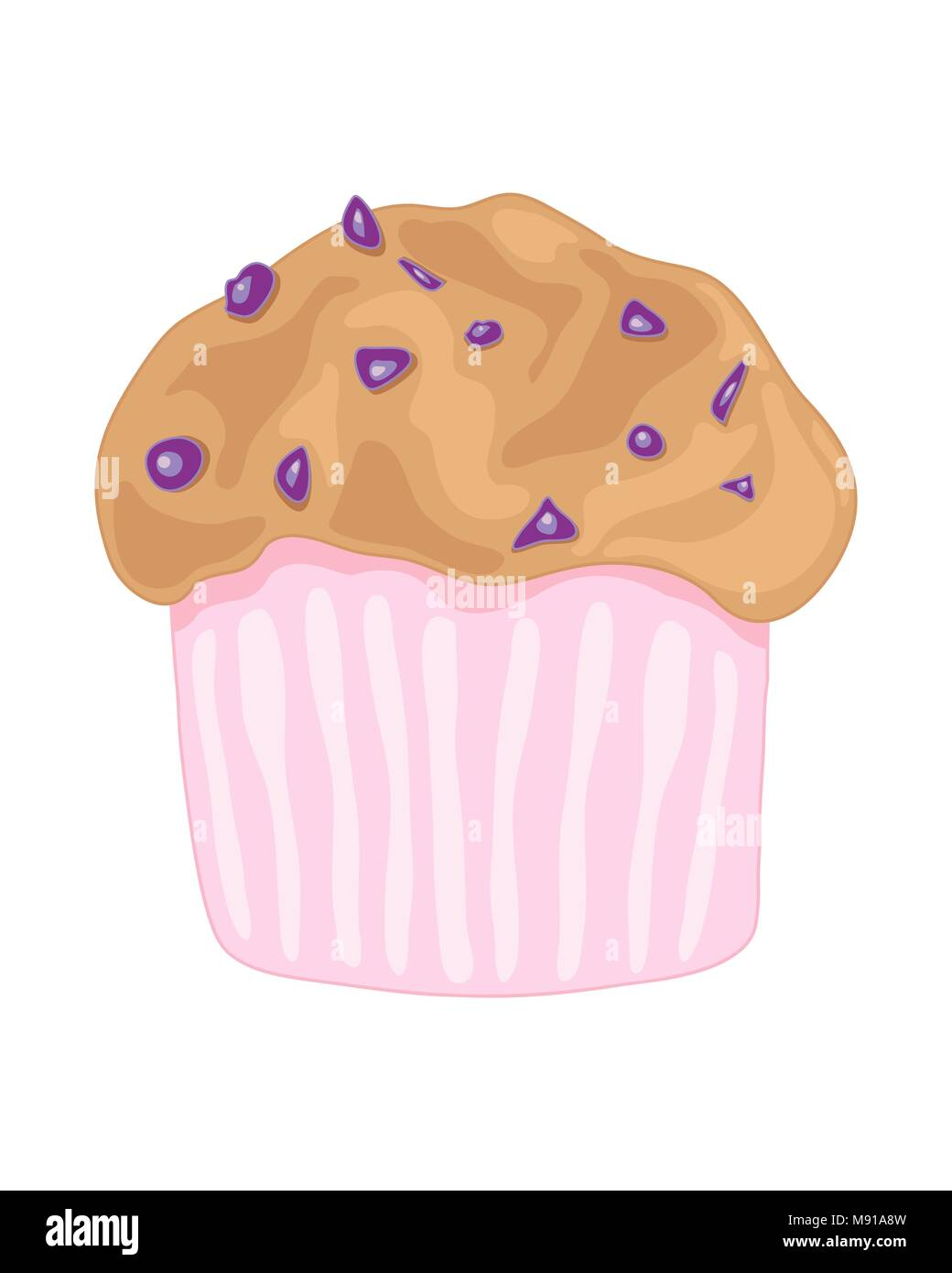a vector illustration in eps 8 format of a delicious blueberry muffin in a pink case on a white background - Stock Vector