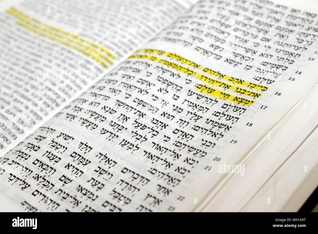 Hebrew Holy Bible.   Strasbourg. France. - Stock Image