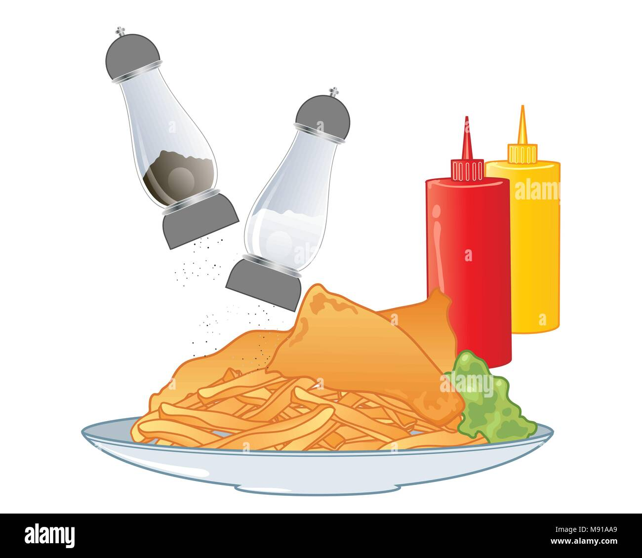 a vector illustration in eps 10 format of a plate of fish and chips with salt and pepper and ketchup and mustard condiments on a white background - Stock Vector