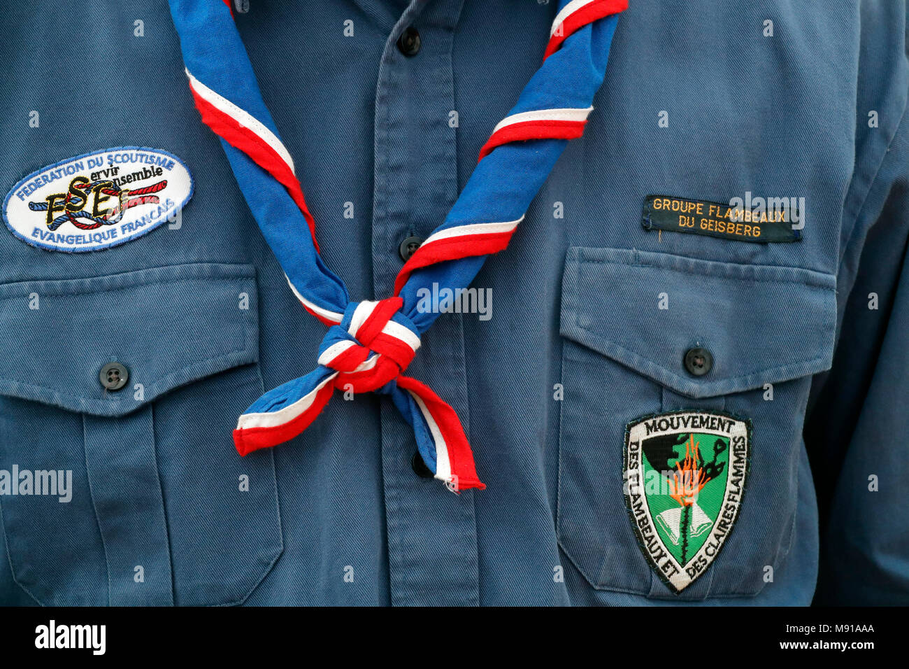 Boy wearing scout scarf. Close-up.  Strasbourg. France. - Stock Image