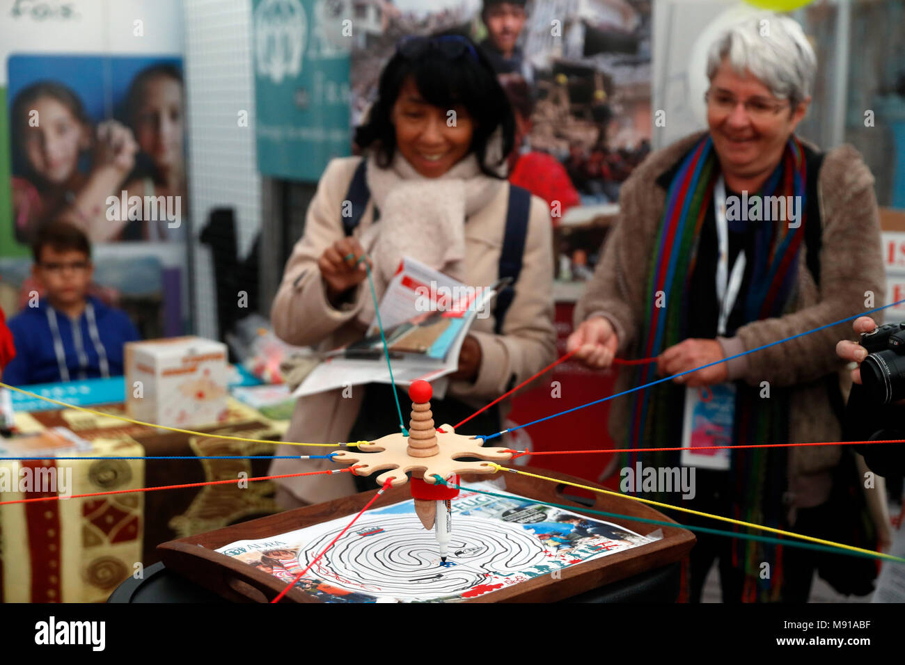 Protestant festival. NGO working with refugees in Irak and Syria.  Strasbourg. France. - Stock Image