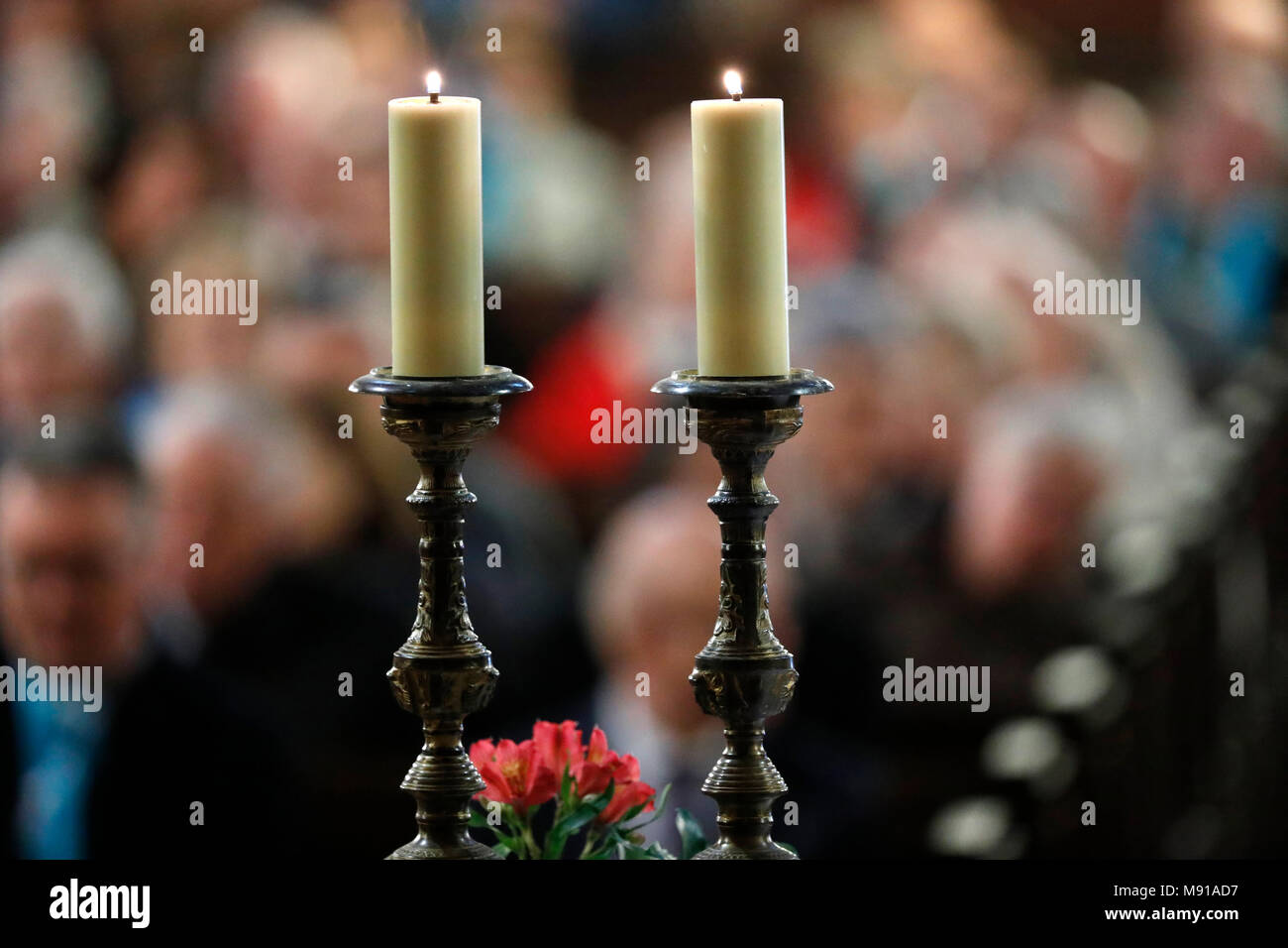 Saint-Pierre-le-Jeune Protestant Church.  Church candles.  Protestant service.  Strasbourg. France. - Stock Image