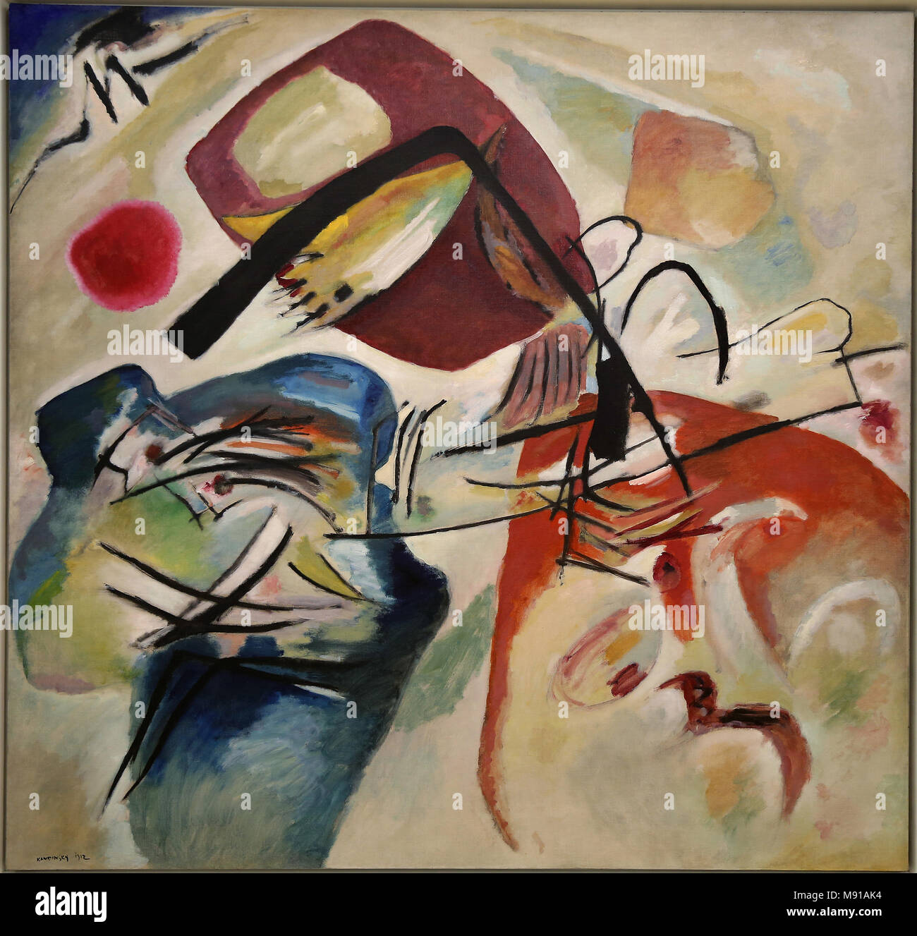 Musee National d'Art Moderne (National Modern art Museum), Georges Pompidou centre, Paris, France. Vassily Kandinsky, With the black bow, 1912, oil on Stock Photo