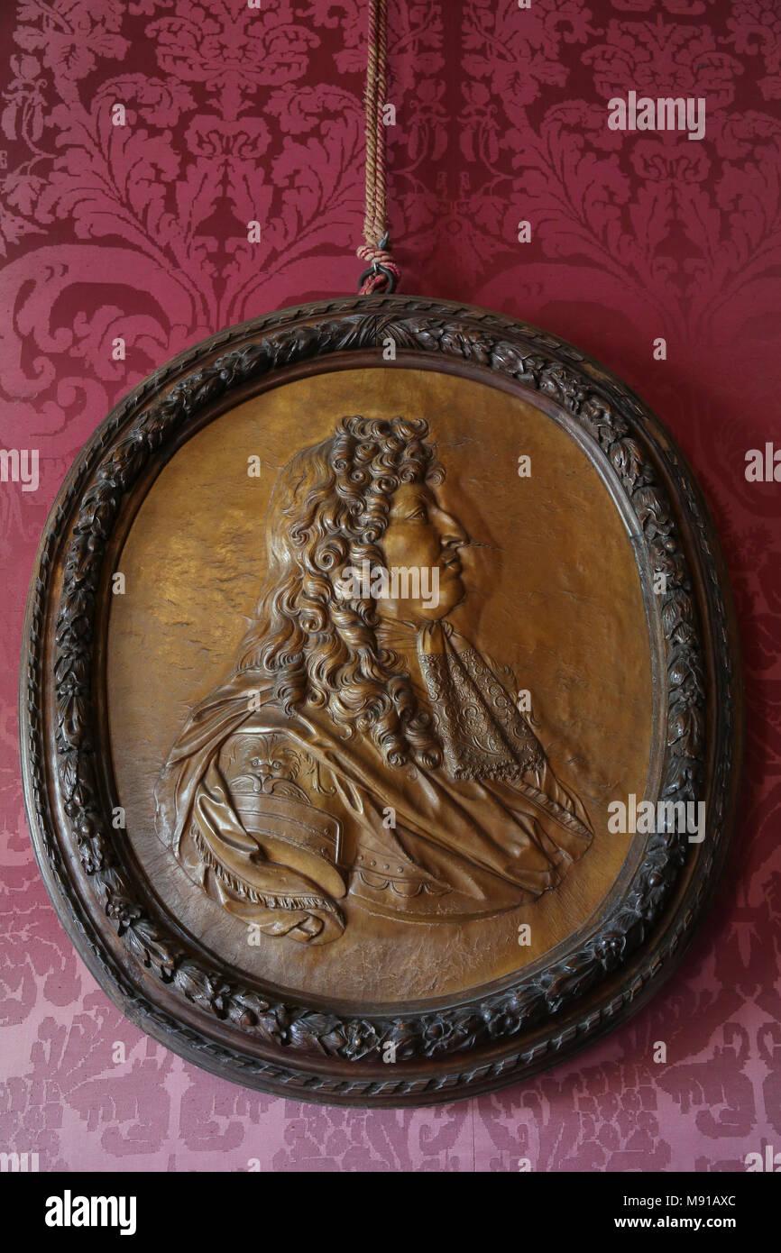 Vaux-le-vicomte castle. Oval medallion of Louis XIV. France. - Stock Image