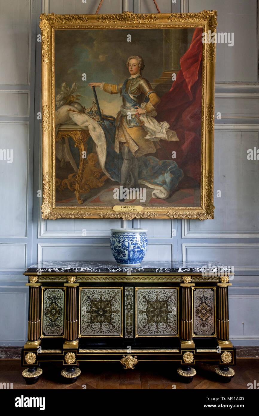 Vaux-le-vicomte castle. King's closet. France. - Stock Image