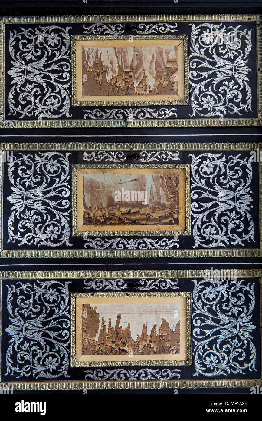 Vaux-le-vicomte castle. King's closet. Inlaid ebony and marquetry cabinet (detail). France. - Stock Image
